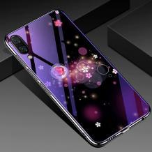 Луксозен стъклен твърд гръб със силиконов кант за Samsung Galaxy A10/M10 - цветя и кръгове