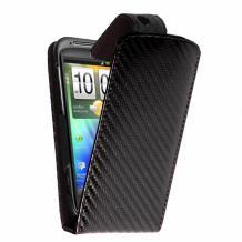 Кожен калъф за HTC Sensation / HTC XE - Carbon Fiber Flip