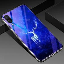 Луксозен стъклен твърд гръб със силиконов кант за Samsung Galaxy A10/M10 - бял елен