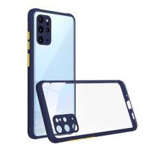 Луксозен твърд калъф / гръб Shockproof за Huawei Y6p - прозрачен / син кант