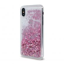 Луксозен твърд гръб 3D Water Case за Apple iPhone 12 /12 Pro 6.1'' - прозрачен / течен гръб с брокат / розов