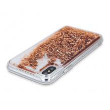 Луксозен твърд гръб 3D Water Case за Samsung Galaxy А12 - прозрачен / течен гръб с брокат / златист