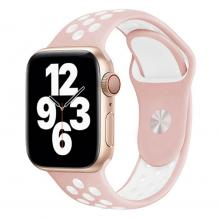 Силиконова каишка на дупки за Apple Watch 38мм / 40мм - розова