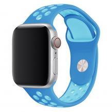 Силиконова каишка на дупки за Apple Watch 42мм / 44мм - синя