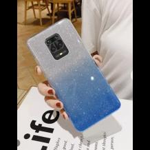 Силиконов калъф / гръб / TPU за Xiaomi Redmi Note 9S / Note 9 Pro - преливащ / сребристо и синьо / брокат