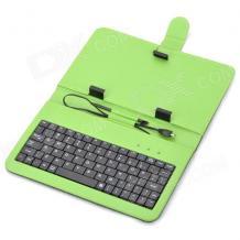 """Универсален кoжен калъф за таблет 7"""" със стойка / клавиатура с Micro USB кабел - черен със зелено"""