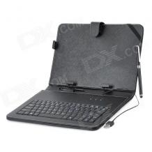 """Универсален кoжен калъф за таблет 10"""" със стойка / клавиатура с Micro USB кабел - черен"""