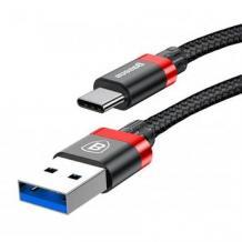 Оригинален USB кабел BASEUS Golden Belt 3A Type-C за зареждане и пренос на данни 2в1 1m за Samsung, Huawei, Sony, Xiaomi, Nokia, LG, Lenovo, HTC, Alcatel и др. - черен с червено