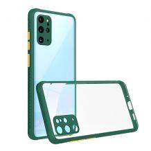 Луксозен твърд калъф / гръб Shockproof за Xiaomi Redmi Note 9 - прозрачен / тъмно зелен кант