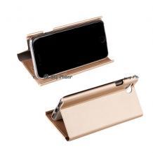 Кожен калъф Bravo Book със стойка за Apple iPhone 7 / iPhone 8 - златист / Flexi