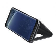 Луксозен калъф Clear View Cover с твърд гръб за Apple iPhone XS Max - златист