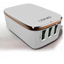 Универсално зарядно устройство LDNIO A3304 220V с 3 USB порта 5V / 3.4А за Samsung , Apple , LG , HTC , Sony, Nokia, Huawei , ZTE, BlackBerry и др. - бяло и бронзово