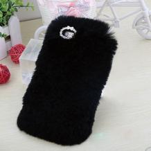 Луксозен силиконов калъф / гръб / TPU 3D с пух и камъни за Xiaomi Mi A1 / 5X - черен