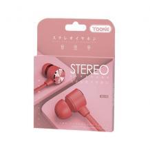 Стерео слушалки Yookie YK1170 / handsfree / 3.5mm за смартфон - червени