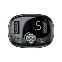 MP3 - FM Wireless transmiter BASEUS T-Type CCALL-TM01 / 2xUSB-A, QC 3.1A / FM трансмитер за кола