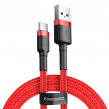 Оригинален USB кабел BASEUS Cafule Cable Type-C за зареждане и пренос на данни - червен