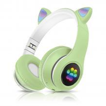 Стерео LED слушалки Bluetooth Cat Ear / Wireless Headphones / безжични LED слушалки Cat Ear P33M - зелени / котешки лапички