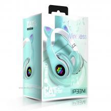 Стерео LED слушалки Bluetooth Cat Ear / Wireless Headphones / безжични LED слушалки Cat Ear P33M - мента / котешки лапички