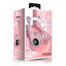 Стерео LED слушалки Bluetooth Cat Ear / Wireless Headphones / безжични LED слушалки Cat Ear P33M - розови / котешки лапички