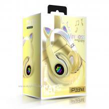 Стерео LED слушалки Bluetooth Cat Ear / Wireless Headphones / безжични LED слушалки Cat Ear P33M - жълти / котешки лапички