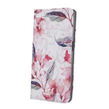 Кожен калъф Flip тефтер със стойка за Samsung Galaxy A02s - червени цветя