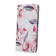 Кожен калъф Flip тефтер със стойка за Samsung Galaxy A20e - червени цветя