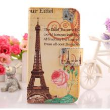 Кожен калъф Flip тефтер със стойка за Telenor Smart Plus - Paris Eiffel Tower / птица