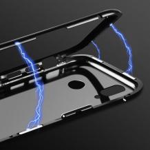 Магнитен калъф Bumper Case 360° FULL за Huawei P30 Lite - прозрачен / черна рамка