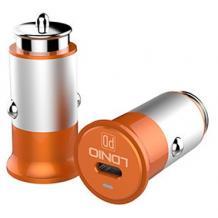 Зарядно за кола LDNIO C61 12V-24V с 1 USB порт / Type-C към Type-C - сребристо