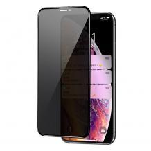 Privacy 5D full cover Tempered glass Full Glue screen protector Apple iPhone 11 Pro Max 6.5'' / Privacy Извит стъклен скрийн протектор с лепило от вътрешната страна за Apple iPhone 11 Pro Max 6.5'' - черен / прозрачен