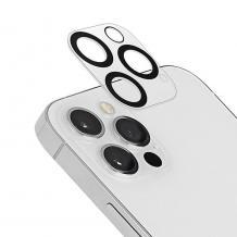 Стъклен протектор / 5D Tempered Glass Camera Lens / за задна камера на Apple iPhone 12 Pro 6.1''- прозрачен / черни рингове