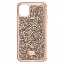 Луксозен твърд гръб Swarovski за Apple iPhone 12 /12 Pro 6.1'' - златист / камъни