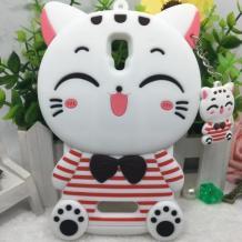 Силиконов калъф / гръб / TPU 3D за Lenovo A536 - Hello Kitty / бял