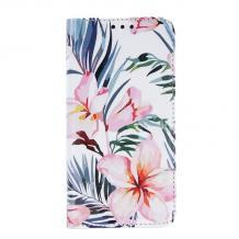 Кожен калъф Flip тефтер със стойка Trendy Book за Huawei Y5p - Blossom