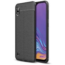 Луксозен силиконов калъф / гръб / TPU за Samsung Galaxy A10 - черен / имитиращ кожа