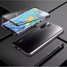 Магнитен калъф Bumper Case 360° FULL за Huawei P30 Pro - прозрачен / черна рамка