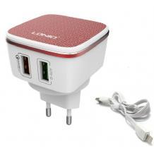 Оригинално зарядно устройство LDNIO A2405Q Qualcomm Quick Charge 2.0 220V с 2 USB порта 5V /4.2A за Apple iPhone 5 / iPhone 5S / iPhone SE / iPhone 6 / 6S / 7 / 7 Plus / 8 / 8 Plus - бяло с червено