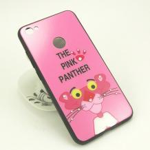 Луксозен твърд гръб със силиконов кант и камъни за Xiaomi RedMi Note 5A Prime - тъмно розов / The Pink Panther
