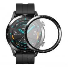 Удароустойчив силиконов протектор за часовник bSmart PET за Huawei Watch GT 2 46mm - прозрачен с черен кант