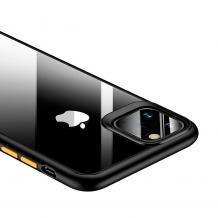 Луксозен гръб USAMS Janz Series за Apple iPhone 11R - прозрачен / черен кант