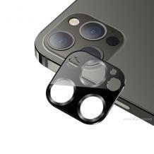 USAMS Tempered Glass Metal Camera Lens Apple iPhone 12 Pro Max / Стъклен протектор за задна камера на Apple iPhone 12 Pro Max - черен