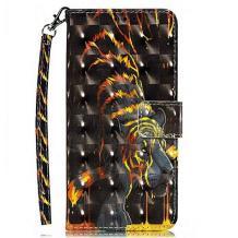 Кожен калъф Flip тефтер Flexi със стойка за Samsung Galaxy A20e - черен / Golden Tiger