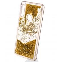 Луксозен твърд гръб 3D Water Case за Samsung Galaxy A20e - прозрачен / течен гръб с брокат / златист