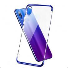 Луксозен силиконов калъф / гръб / TPU за Huawei Y5 2019 - прозрачен / син кант