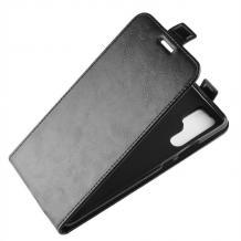 Кожен калъф Flip тефтер Flexi със силиконов гръб за Huawei P30 Pro - черен