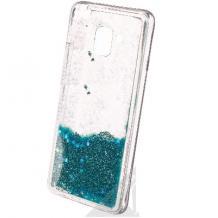 Луксозен твърд гръб 3D Water Case за Samsung Galaxy J6 Plus 2018 - прозрачен / течен гръб с брокат / тюркоазен
