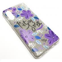 Силиконов калъф / гръб / TPU за Huawei Y5 2019 - сребрист брокат / лилави цветя / Put on Love
