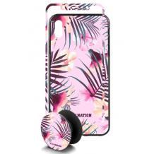 Луксозен твърд гръб 3in1 със стъклен протектор и Popsocket за Apple iPhone 7 / iPhone 8 - розови цветя