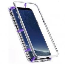 Магнитен калъф Bumper Case 360° FULL за Xiaomi Redmi 8A - прозрачен / сребриста рамка