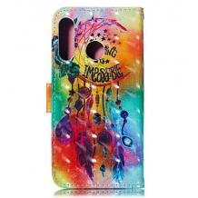 Кожен калъф Flip тефтер Flexi със стойка за Samsung Galaxy A20e - цветен / Flower Wind Chimes